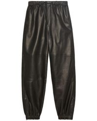 ARKET Leather Track Trousers - Black