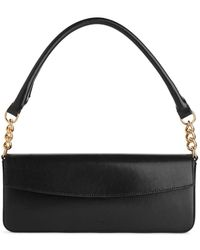 ARKET Elongated Leather Shoulder Bag - Black