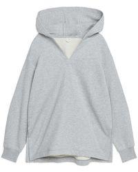 ARKET Hooded V-neck Sweatshirt - Grey