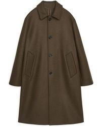 ARKET Melton Wool Overcoat - Green