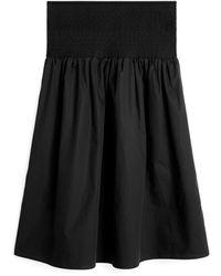 ARKET Shirred Cotton Skirt - Black