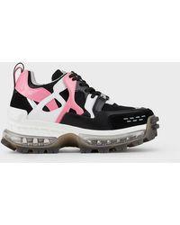 Emporio Armani Sneakers chunky en cuir et mesh - Noir