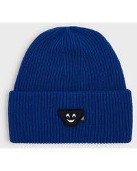 Emporio Armani Mütze aus Wollmischung mit Emoticon-Patch - Blau