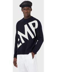 Emporio Armani Pull en laine et cachemire avec grand logo jacquard - Bleu