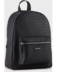 Emporio Armani Backpack With All-over Monogram - Black