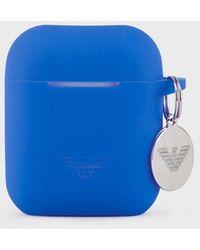 Emporio Armani Porta auricolari in silicone - Blu