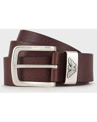 Emporio Armani Cinturón de piel con hebilla con logotipo - Marrón