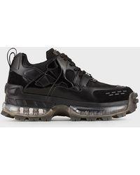 Emporio Armani Sneakers chunky avec détails en cuir suédé et ripstop - Noir