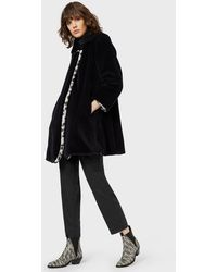 Emporio Armani Reversible Faux-fur Coat With Leopard-print On One Side - Blue