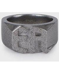 Emporio Armani Men's Silver-tone Stainless Steel Ring - Metallic