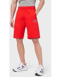Emporio Armani Shorts in jersey con logo - Rosso