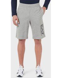 Emporio Armani Shorts in jersey con logo - Grigio