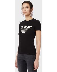 Emporio Armani Stretch Jersey T-shirt With Eagle Pattern - Black