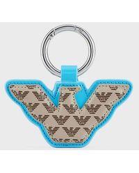 Emporio Armani Eagle-shaped Myea Bag Charm With All-over Logo - Blue