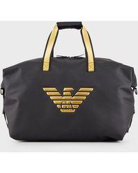 Emporio Armani Rubberised-fabric Duffel Bag With Gold-coloured Eagle - Black