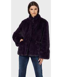 Emporio Armani Emporio Button - Front Faux - Fur Coat - Purple