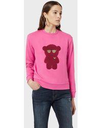 Emporio Armani Glitter Beat Cotton Sweatshirt - Pink