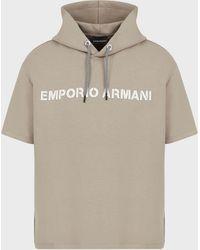 Emporio Armani Short-sleeved, Hooded Sweatshirt With Logo Lettering - Multicolor