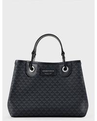 Emporio Armani Kleiner Shopper MyEA Bag mit Allover-Logo - Schwarz