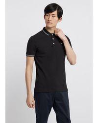 Emporio Armani Twin Tipped Polo Shirt - Noir