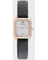Emporio Armani Reloj de piel con dos manecillas para mujer - Negro