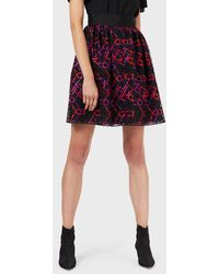 Emporio Armani Tulle Skirt With Geometric Embroidery - Black