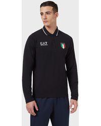 Emporio Armani Polo de l'équipe italienne des jeux olympiques de Tokyo 2020 - Bleu
