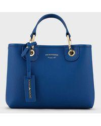 Emporio Armani Petit sac cabas MyEA Bag avec imprimé cerf - Bleu