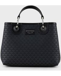 Emporio Armani Shopper MyEA Bag piccola con logo all over - Nero