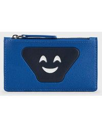 Emporio Armani Card Holder With Zip And Emoji Patch - Blue