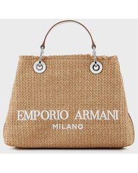 Emporio Armani Bolso shopper MyEA Bag de paja trenzada - Blanco
