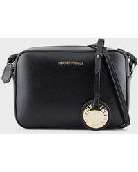 Emporio Armani Mini Shoulder Bag In Faux Nappa Leather - Black