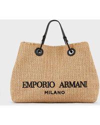 Emporio Armani Myea Bag Shopper In Straw - Natural