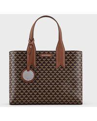 Emporio Armani Handbag With Monogram And Logo Charm - Brown