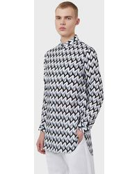 Emporio Armani Modal Shirt With Detachable Collar And Op Art Print - Grey