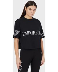Emporio Armani Stretch Jersey T-shirt With Logo - Black