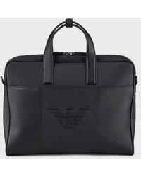 Emporio Armani Branded Briefcase - Black