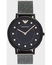 Emporio Armani Reloj de acero inoxidable con tres manecillas para mujer - Negro