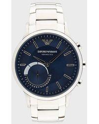 Emporio Armani Smartwatch 3 Hybrid in acciaio - Blu