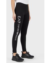 Emporio Armani Leggings stretch con maxi-logo verticale - Nero