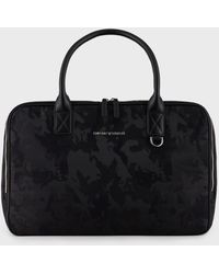 Emporio Armani Jacquard Camouflage-print Weekender Bag - Black