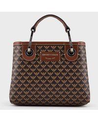Emporio Armani Mini sac MyEA Bag avec logo all over - Marron