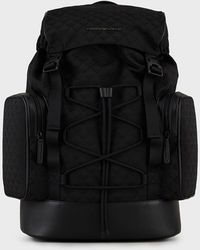 Emporio Armani Sac à dos de randonnée en nylon avec monogramme jacquard - Noir