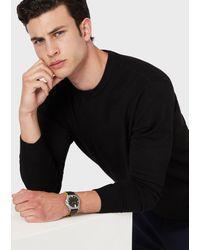 Emporio Armani Three-hand Black Leather Watch