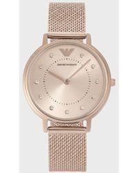 Emporio Armani Reloj analógico de acero inoxidable con cristales que marcan las horas - Rosa