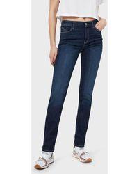 Emporio Armani J18 Slim-fit, Worn-wash Stretch Denim Jeans - Blue