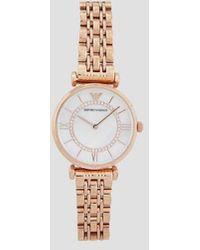 Emporio Armani Reloj de mujer analógico chapado en oro rosa con strass