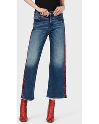 Emporio Armani J33 Wide Cropped Jeans With Logo Band - Blue