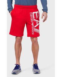 Emporio Armani Jersey Fleece Shorts With Maxi Logo - Red