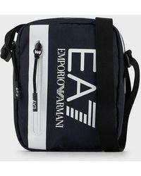 Emporio Armani Sac porté croisé avec maxi logo - Blau